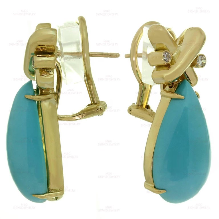 Turquoise Diamond Yellow Gold Detachable Brooch Necklace Ring and Earrings Set 5