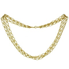 Three-Row Yellow Gold Link Necklace