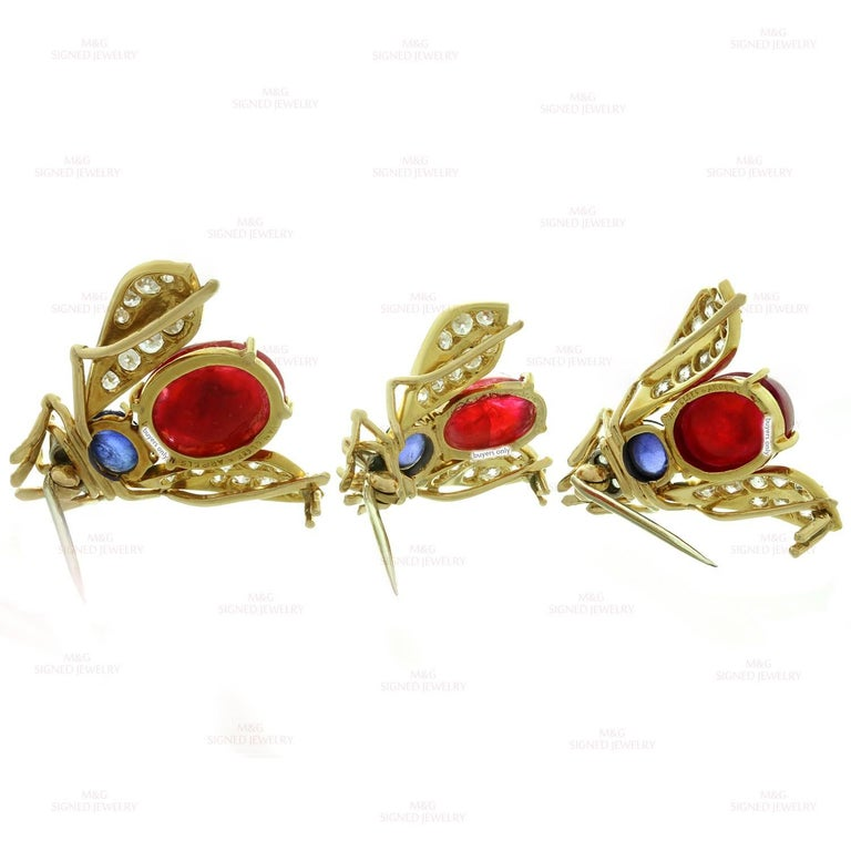 Van Cleef & Arpels Trio Set Ruby Sapphire Diamond Yellow Gold Pin Brooches For Sale 1