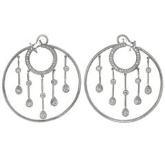 Chanel La Pluie Diamond White Gold Hoop Earrings