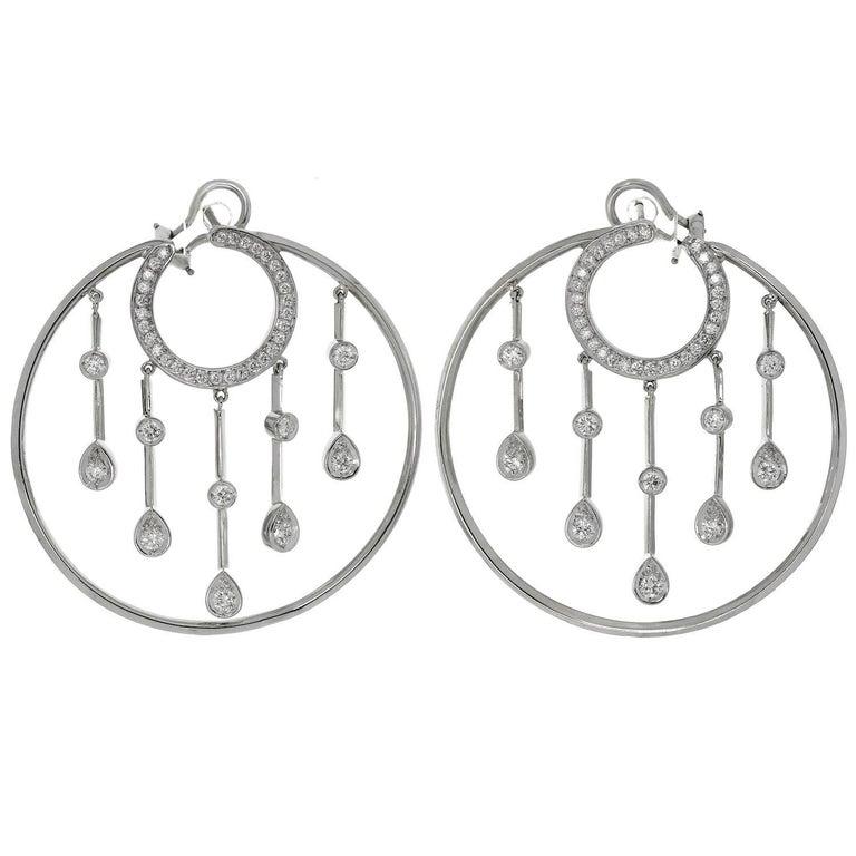 Chanel La Pluie Diamond White Gold Hoop Earrings