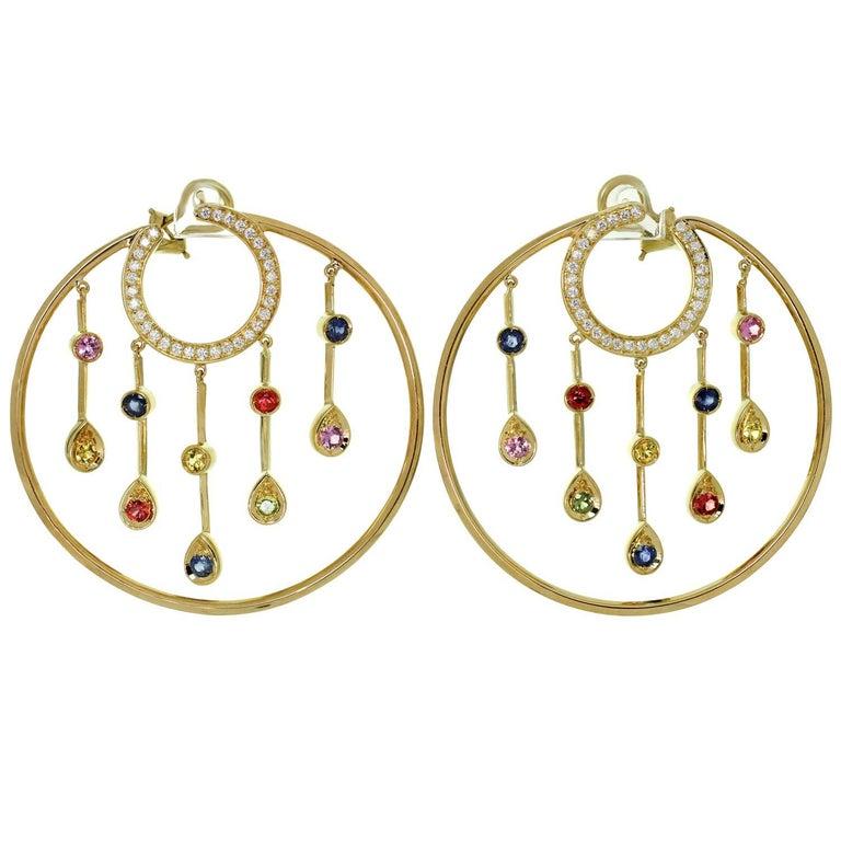 Chanel La Pluie Diamond Sapphire Yellow Gold Hoop Earrings