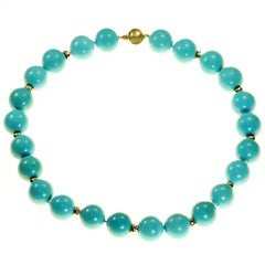 GIA Certified Natural Turquoise Bead Yellow Gold Necklace