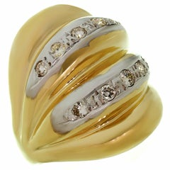 Diamond Yellow Gold Fluted Dome Ring