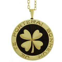 Van Cleef & Arpels Lucky Clover Wood Yellow Gold Pendant Necklace