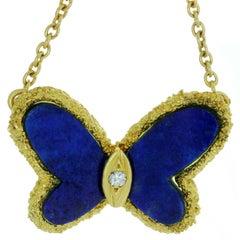 Van Cleef & Arpels Diamond Lapis Lazuli Butterfly Pendant Necklace