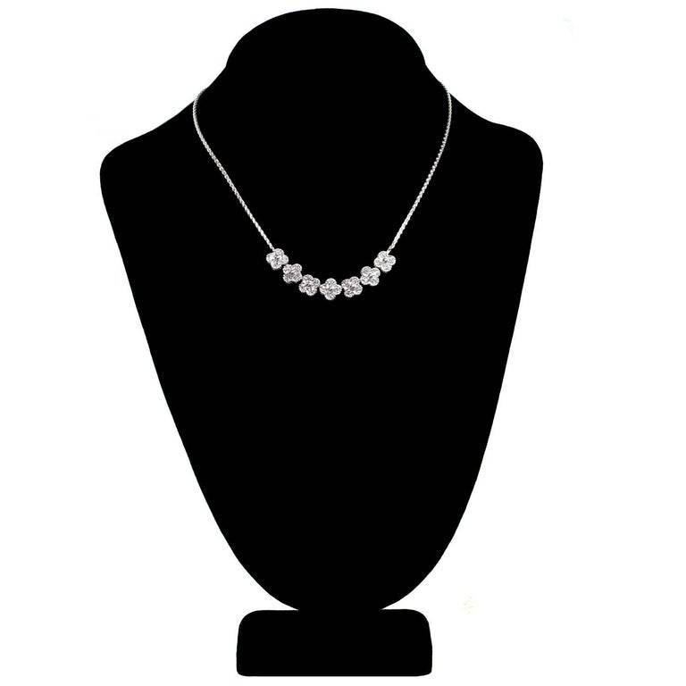 Women's Van Cleef & Arpels Arno Alhambra Diamond White Gold Necklace For Sale