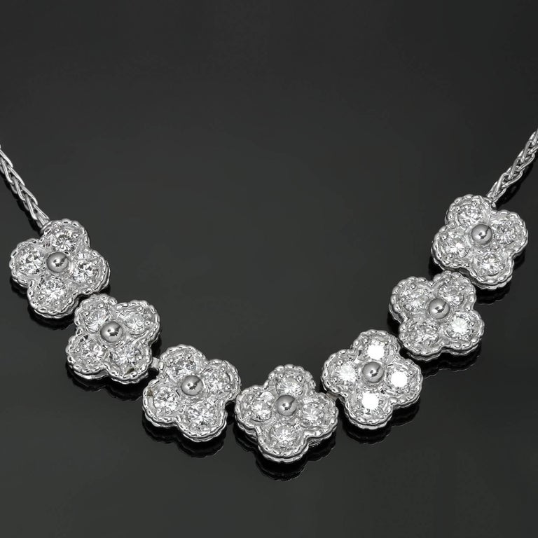 Van Cleef & Arpels Arno Alhambra Diamond White Gold Necklace For Sale 2