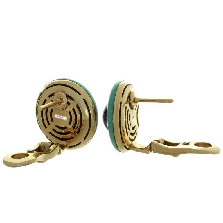 Bulgari Diamond Amethyst Turquoise Yellow Gold Earrings For Sale 2