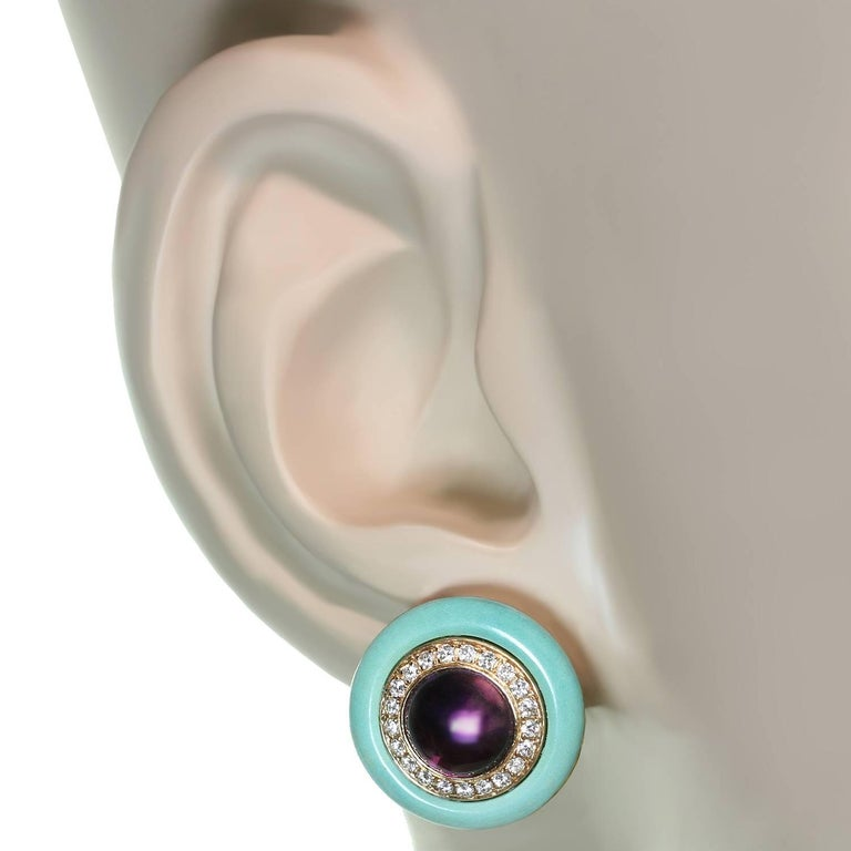 Bulgari Diamond Amethyst Turquoise Yellow Gold Earrings 4