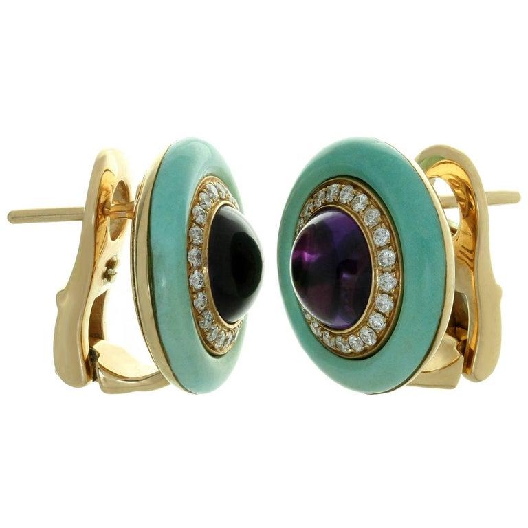 Bulgari Diamond Amethyst Turquoise Yellow Gold Earrings For Sale 1