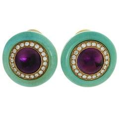 Bulgari Diamond Amethyst Turquoise Yellow Gold Earrings