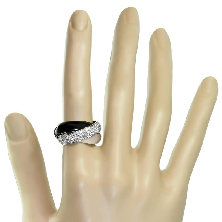 Women's Trinity de Cartier Diamond Black Ceramic White Gold Large Ring For Sale