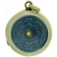 Art Nouveau Guilloche Enamel Yellow Gold Locket