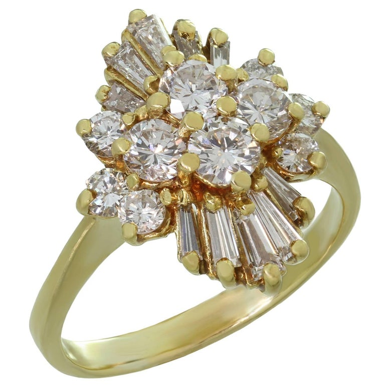 Diamond Marquise-Shaped Cluster Yellow Gold Ring