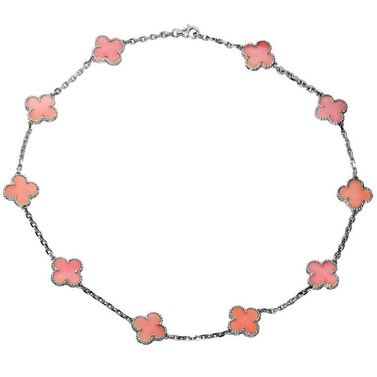 Van Cleef & Arpels Alhambra Pink Opal White Gold Ten Motif Necklace