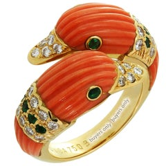 Van Cleef & Arpels Pink Coral Emerald Diamond Yellow Gold Two Dolphins Ring
