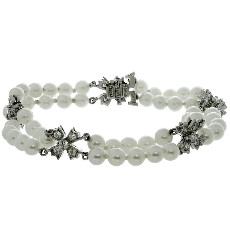 3feefccca Tiffany & Co. Floret Flourishes Diamond Platinum Pearl Bracelet For Sale
