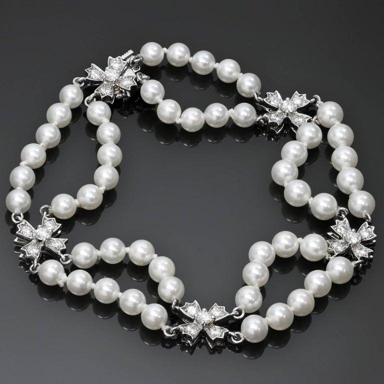 70e8cc84e Women's Tiffany & Co. Floret Flourishes Diamond Platinum Pearl Bracelet For  Sale