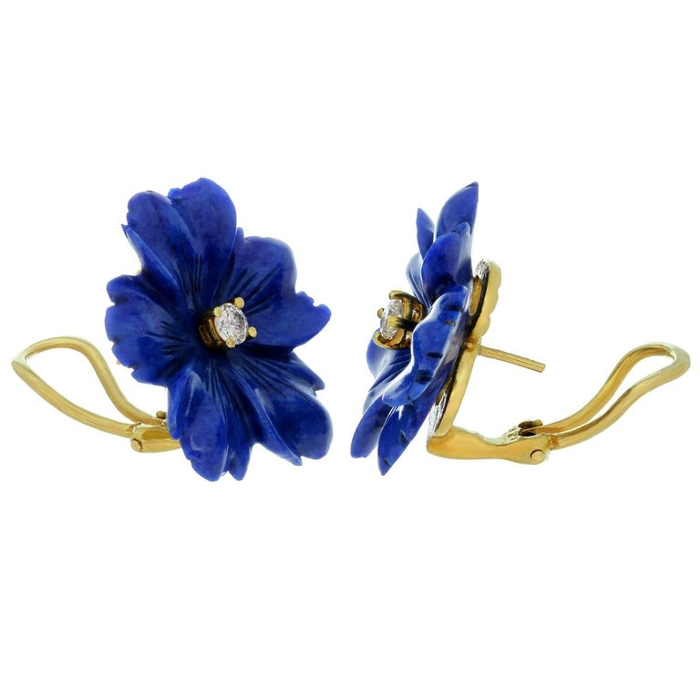 Tiffany and co paloma picasso lapis lazuli yellow gold flower paloma picasso lapis lazuli yellow gold flower earrings for sale 1 mightylinksfo