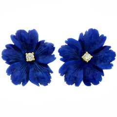 Tiffany & Co. Paloma Picasso Lapis Lazuli Yellow Gold Flower Earrings