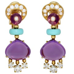 Bulgari Mediterranean Eden Diamond Amethyst Turquoise Yellow Gold Earrings