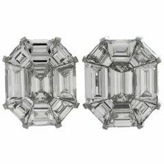 Diamond Asscher Style White Gold Earrings