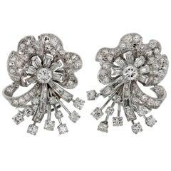1960s Diamond Platinum White Gold Clip-on Earrings