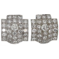 Geometric Style Diamond White Gold Earrings
