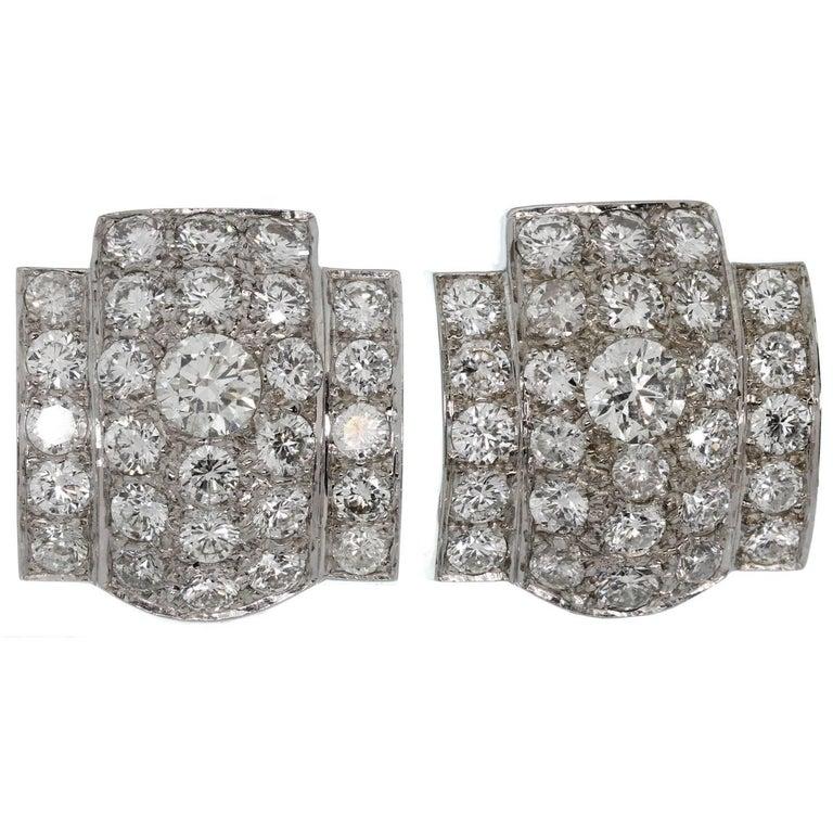 IMPRESSIVE! Retro White Gold Diamond Earrings