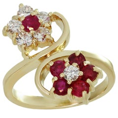 Diamond Ruby Two Flower Yellow Gold Ring
