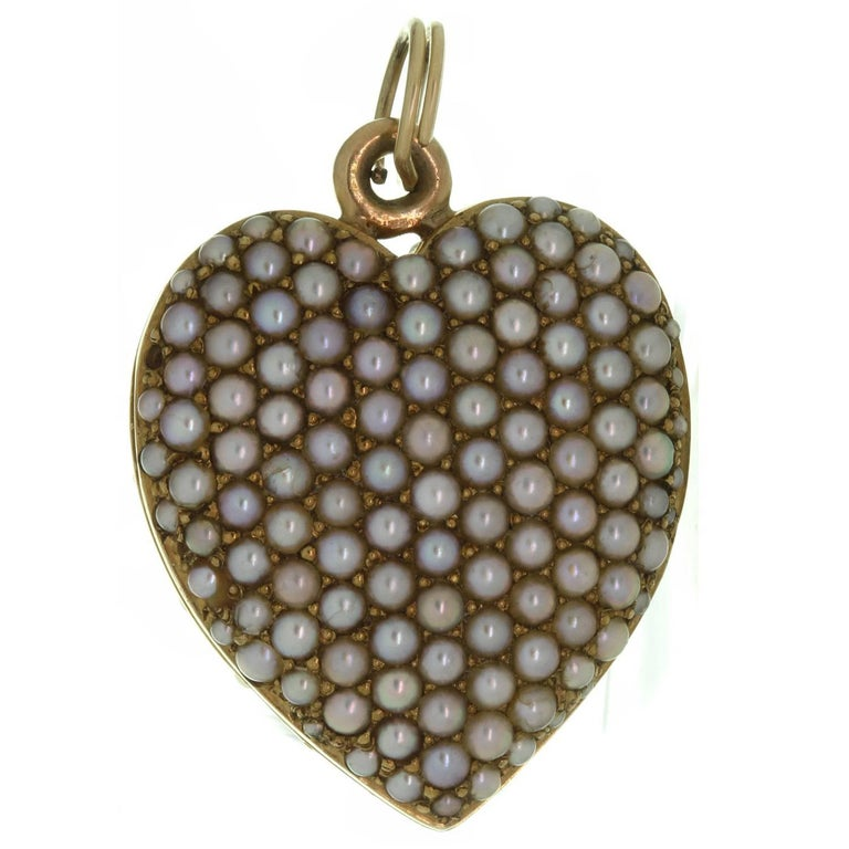 Victorian Double Sided Pave Seed Pearl Yellow Gold Heart Locket Pendant