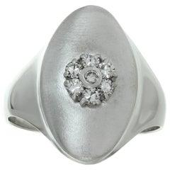 Diamond Flower White Gold Oval Ring