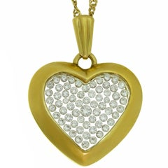 Diamond Yellow Gold Heart Pendant Necklace