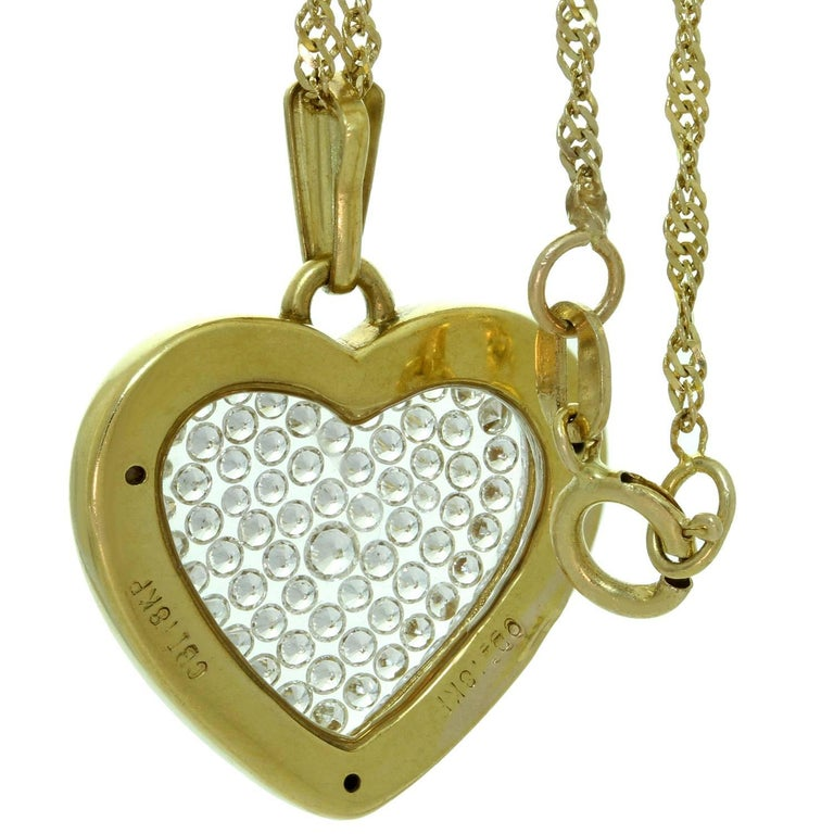 Diamond yellow gold heart pendant necklace at 1stdibs diamond yellow gold heart pendant necklace in excellent condition for sale in new york ny aloadofball Gallery