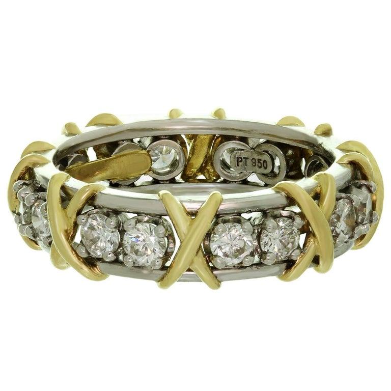 3a1c9693f Women's Tiffany & Co. Schlumberger 16 Stone Diamond Gold Platinum X Ring For  Sale