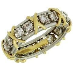Tiffany & Co. Schlumberger 16 Stone Diamond Gold Platinum X Ring