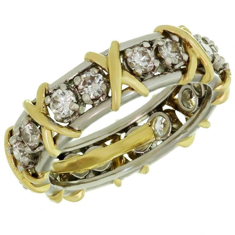 Tiffany & Co. Schlumberger 16 Stone Diamond Gold Platinum X Ring