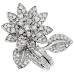Van Cleef & Arpels Lotus Between-the-Finger Diamond White Gold Ring
