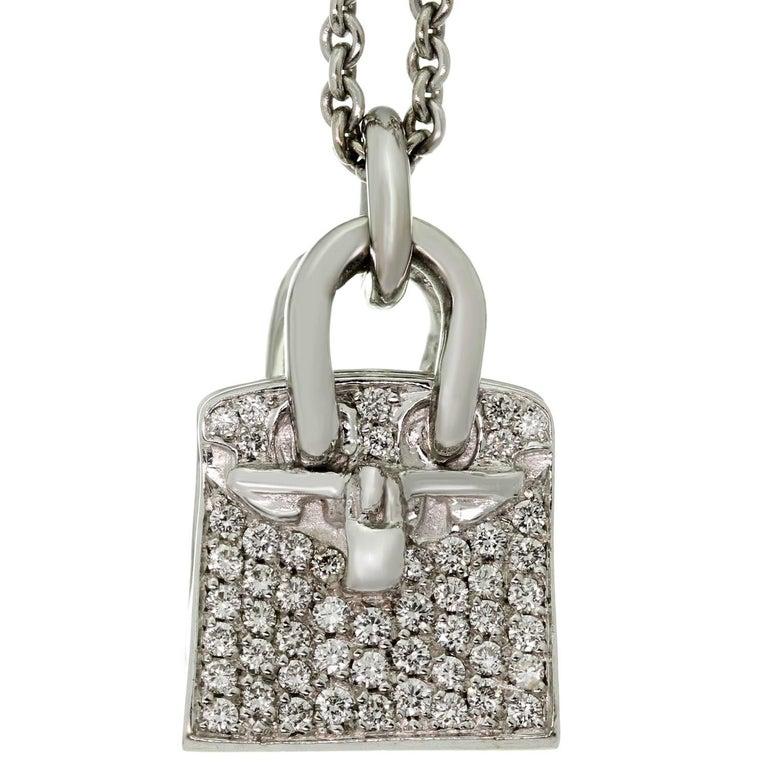 HERMES Birkin Amulette Diamond White Gold Pendant Necklace