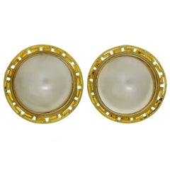 Mother-Of-Pearl Yellow Gold Greek Pattern Button Earrings