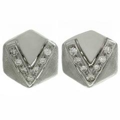 Diamond White Gold Pentagonal Earrings