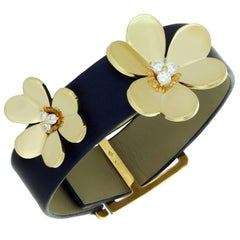 Van Cleef & Arpels Frivole Diamond Yellow Gold Navy Leather Bracelet