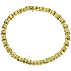 Tiffany & Co. Signature X Diamond Yellow Gold Large Necklace