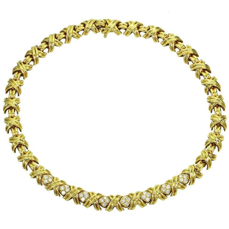 Tiffany & Co. Signature X Diamond Yellow Gold Large Necklace