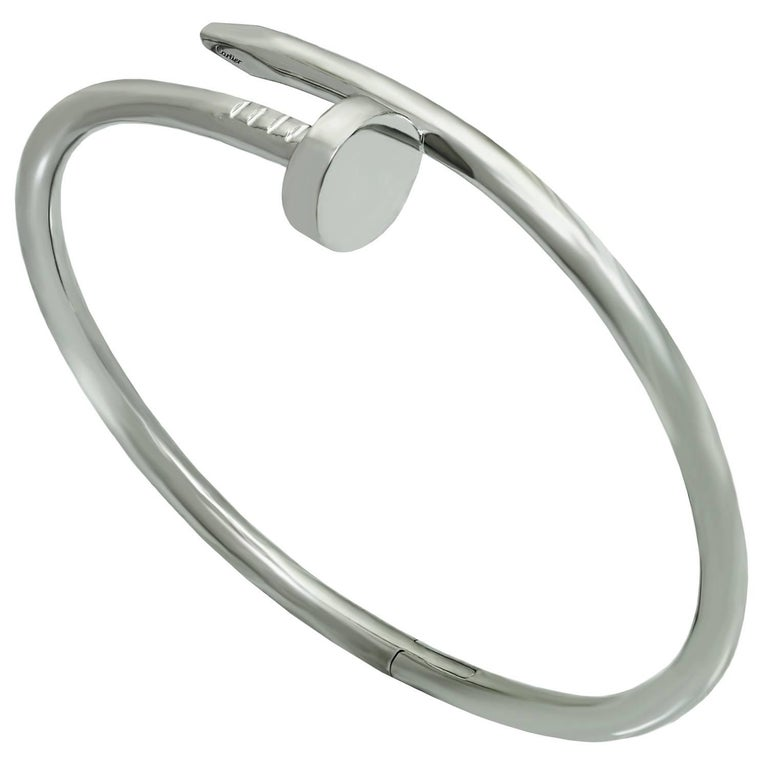 Cartier Juste Un Clou White Gold Bangle Bracelet, Box Papers