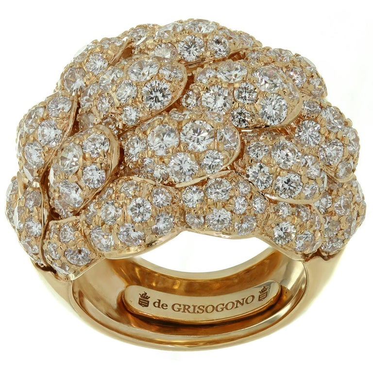 De Grisogono Diamond Rose Gold Dome Ring