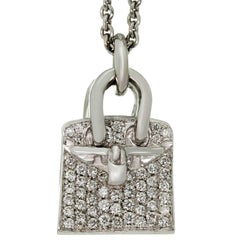 Hermes Birkin Amulette Diamond White Gold Pendant Necklace