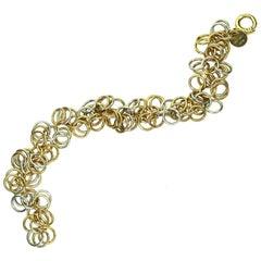Hermes Round Hoop Link Two-Tone Gold Bracelet