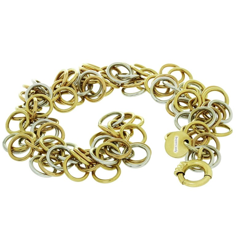 Hermes Round Hoop Link Two-Tone Gold Bracelet For Sale 3